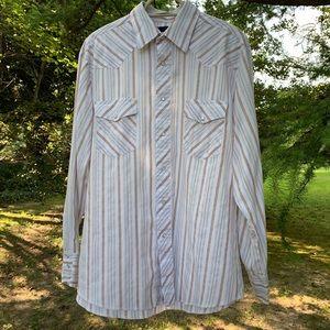Wrangler • Striped Pearl Snap Western Shirt
